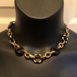 kate spade ♠️ black and gold chain link necklace